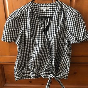 Madewell gingham wrap shirt
